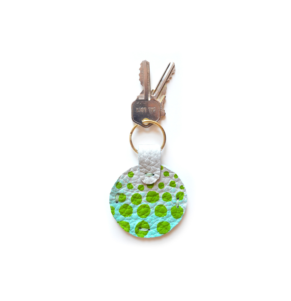 Leather Key Chain, Mint Key Fob, Blue and Green Colorful Modern Key Chain, Geometric Painted Custom Key Chain.jpg