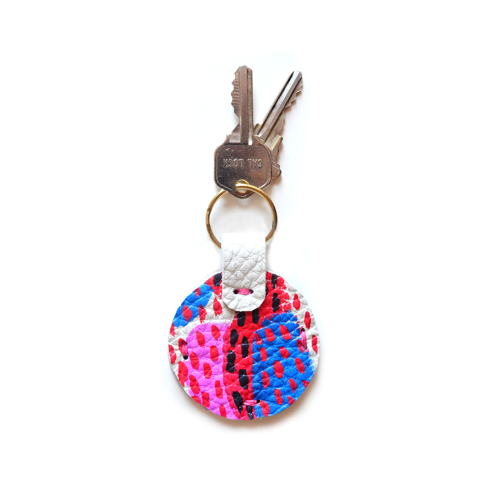 Leather Key Chain, Pink and Blue Colorful Modern Key Chain, Geometric Painted Custom Key Chain 4.jpg