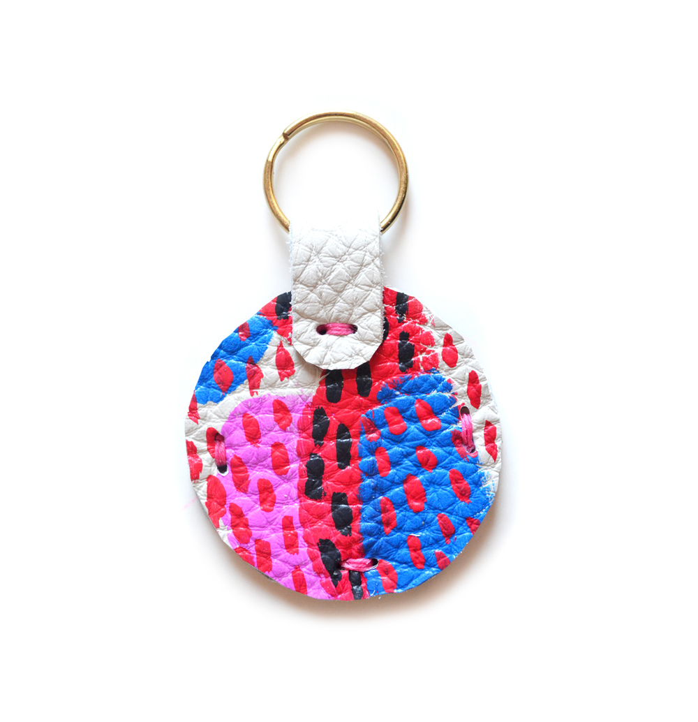 Leather Key Chain, Pink and Blue Colorful Modern Key Chain, Geometric Painted Custom Key Chain.jpg