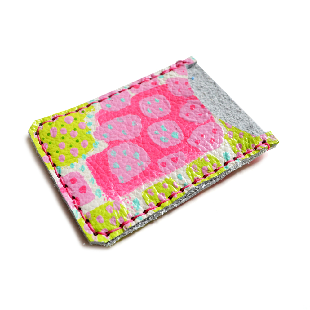 Leather Card Holder, Leather Wallet, Business Card Holder, Neon Pink Green Polka Dot Art Wallet, Modern Card Case, Minimal Wallet 3.jpg