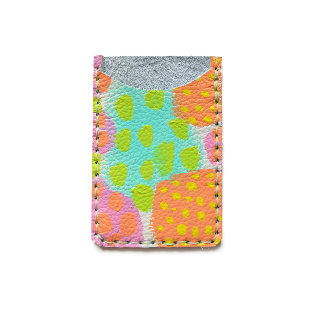 Leather Card Holder, Leather Wallet, Business Card Holder, Peach Mint Polka Dot Art Wallet, Modern Card Case, Minimal Wallet.jpg