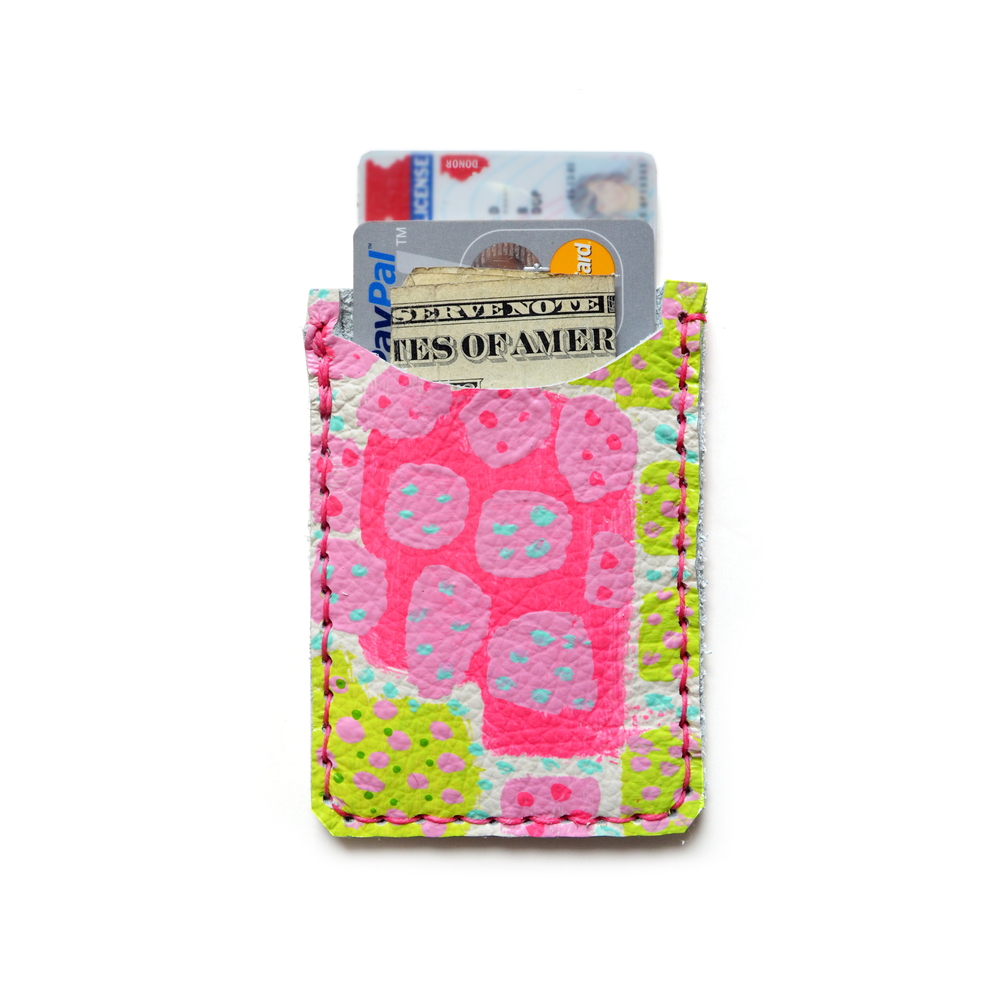 Leather Card Holder, Leather Wallet, Business Card Holder, Neon Pink Green Polka Dot Art Wallet, Modern Card Case, Minimal Wallet 2.jpg