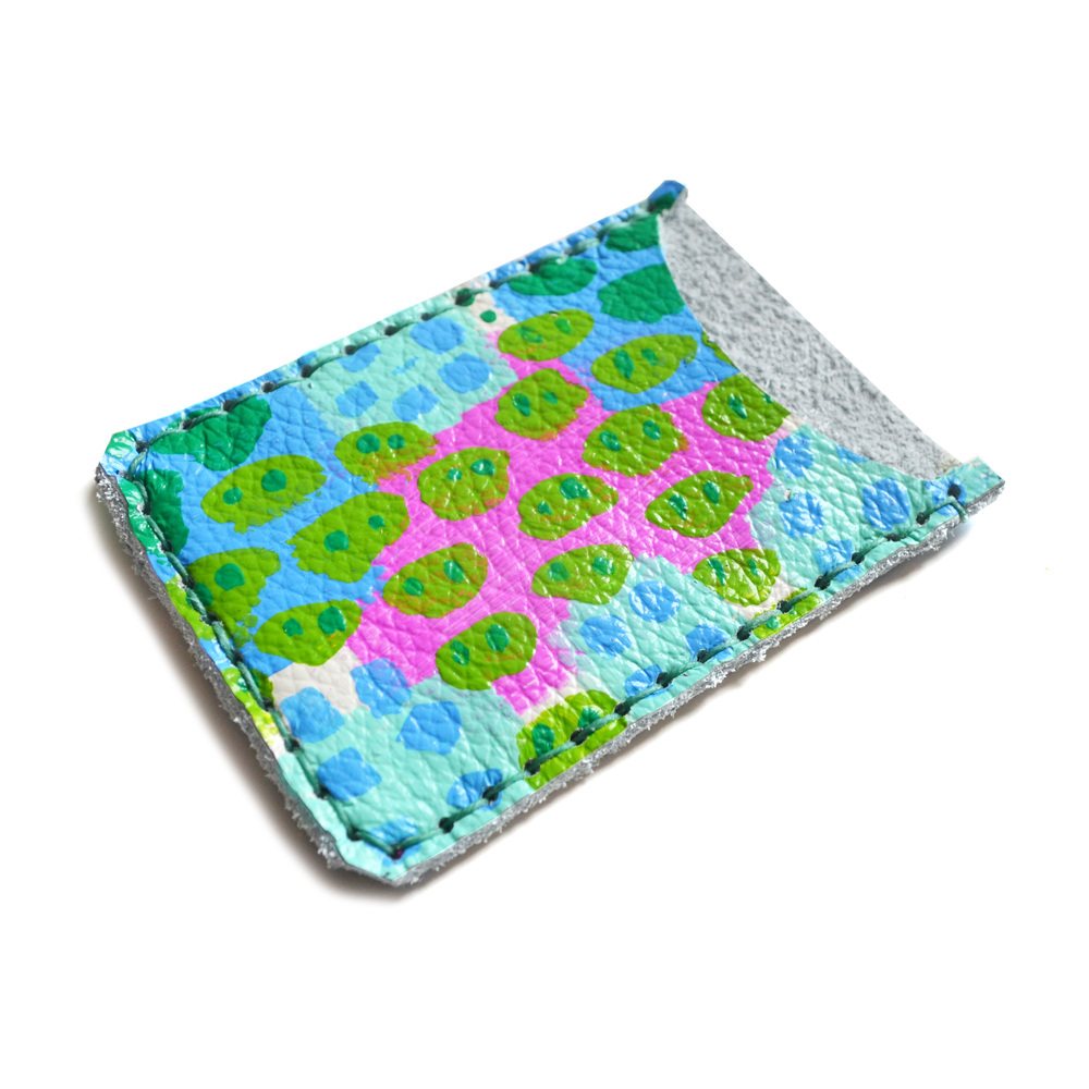 Leather Card Holder, Leather Wallet, Business Card Holder, Green, Fuchsia and Blue Polka Dot Art Wallet, Modern Card Case, Minimal Wallet 2.jpg