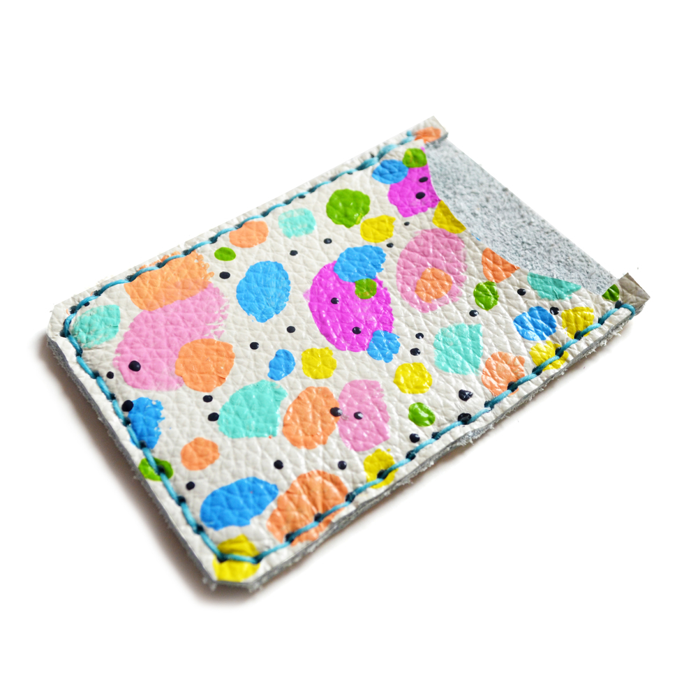 Leather Card Holder, Leather Wallet, Business Card Holder, Rainbow Polka Dot Art Wallet, Modern Card Case, Minimal Wallet 2.jpg