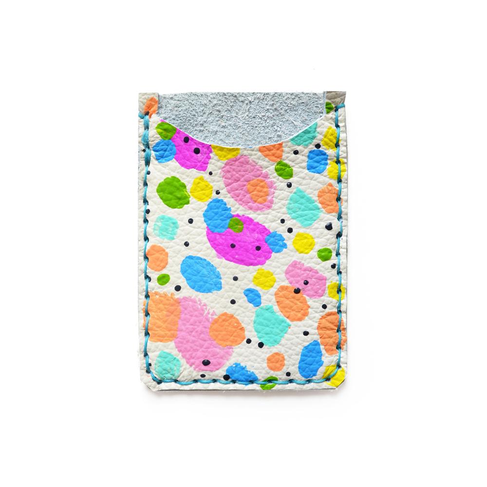 Leather Card Holder, Leather Wallet, Business Card Holder, Rainbow Polka Dot Art Wallet, Modern Card Case, Minimal Wallet.jpg
