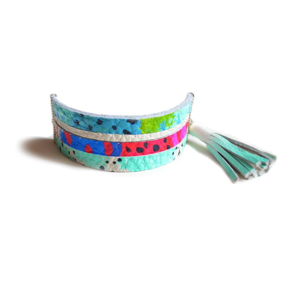 Leather Bracelet, Cuff Bracelet, Mint Tassel Bracelet, Pink, Red, Blue and Mint Pattern Bracelet, Strip Bracelet.jpg