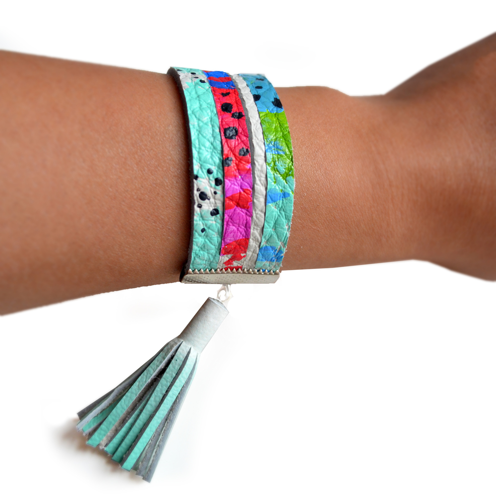 Leather Bracelet, Cuff Bracelet, Mint Tassel Bracelet, Pink, Red, Blue and Mint Pattern Bracelet, Strip Bracelet 4.jpg
