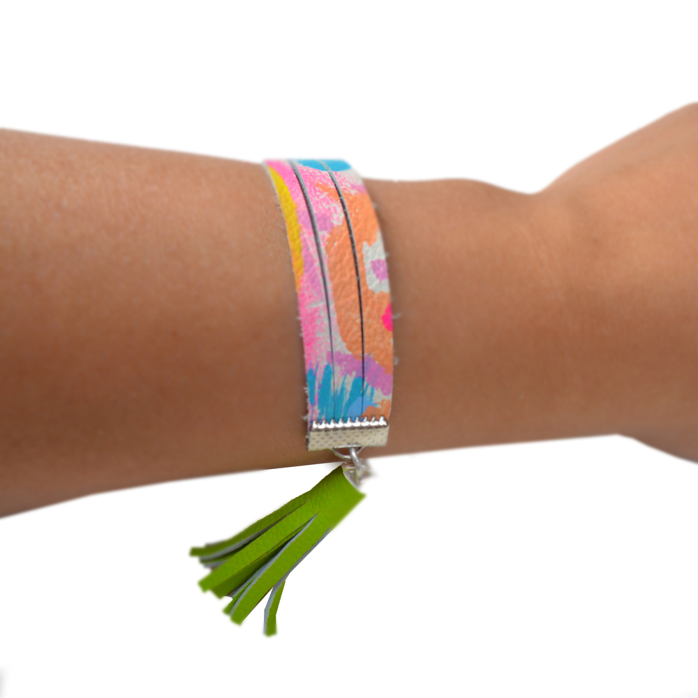 Leather Bracelet in Green, Blue and Peach, Small Cuff Bracelet, Green Tassel Bracelet, Abstract Art Pattern 4.jpg