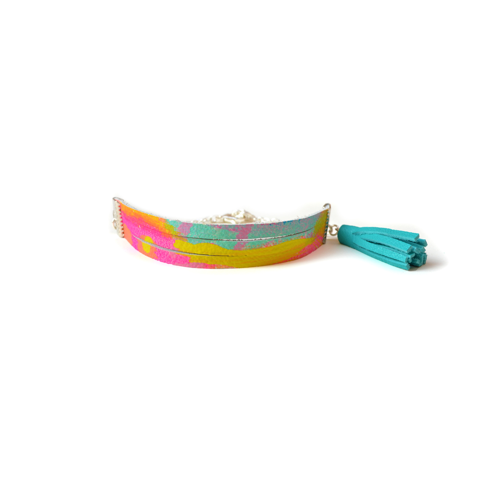 Leather Bracelet in Teal, Yellow and Pink, Colorful Bracelet, Stacking Bracelet, Small Cuff Bracelet, Turquoise Tassel Bracelet, Abstract Art Pattern.jpg