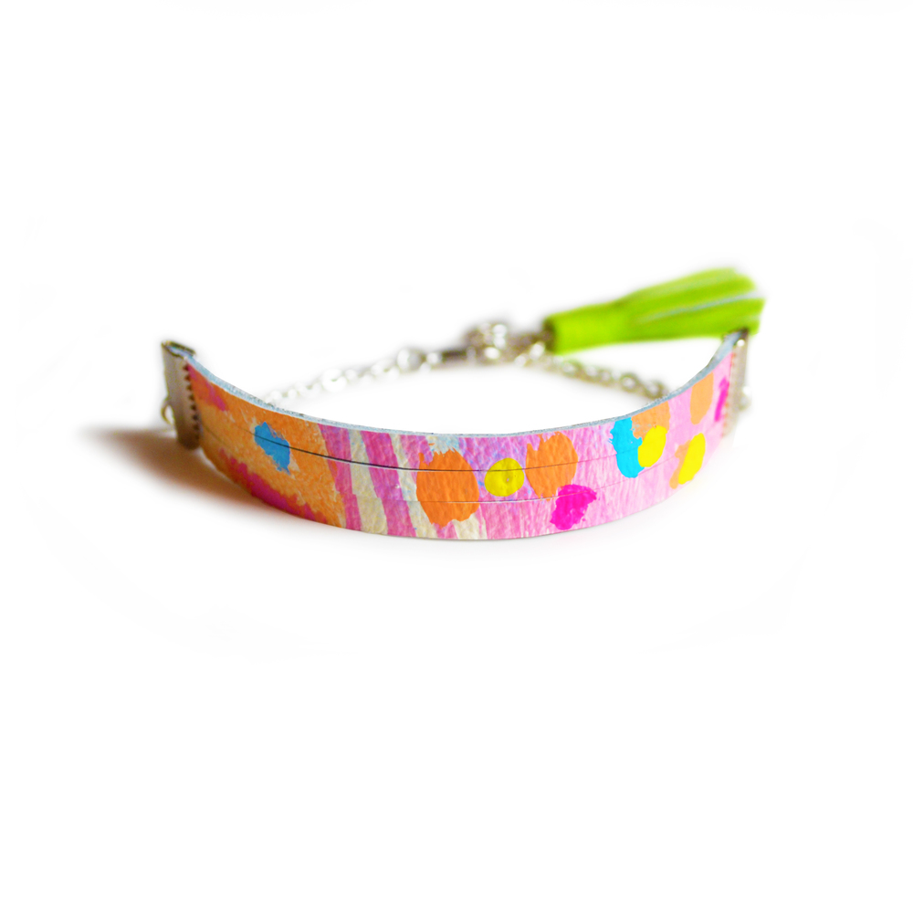 Leather Bracelet in Peach, Pink and Coral, Small Cuff Bracelet, Green Tassel Bracelet, Abstract Art Pattern 3.jpg