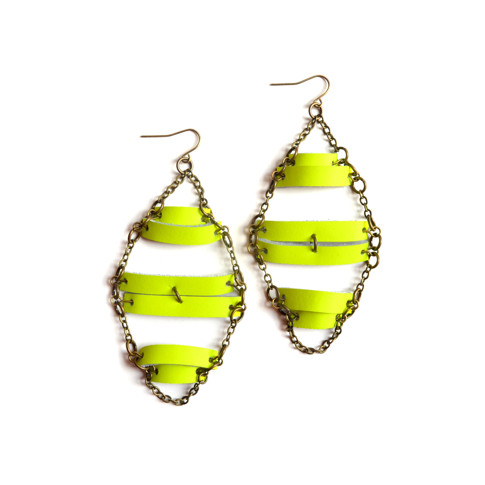 Neon Yellow Earrings, Geometric Earrings, Leather and Brass Earrings, Neon Geometric Jewelry.jpg