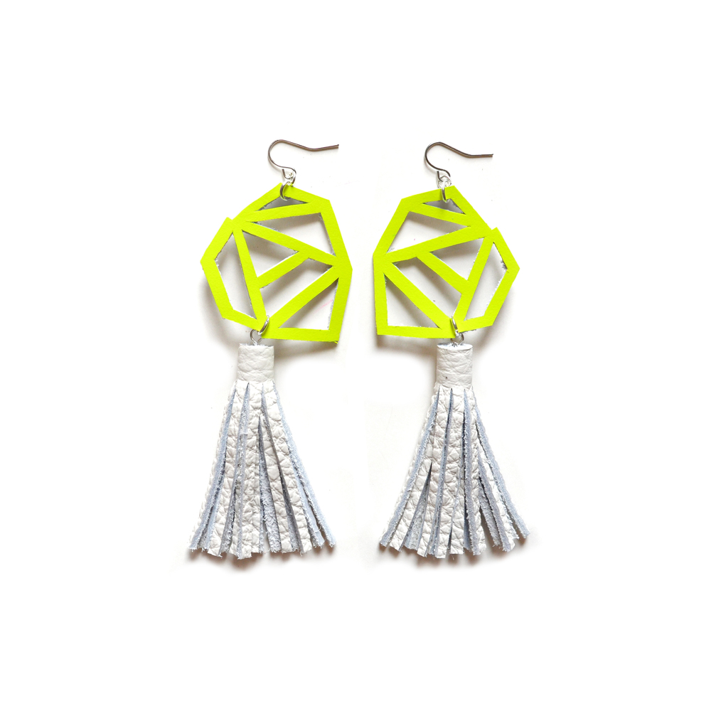 Neon Geometric Earrings, Neon Yellow Earrings, White Leather Tassel Earrings, Triangle Chevron Earrings, Geometric Jewelry 2.jpg