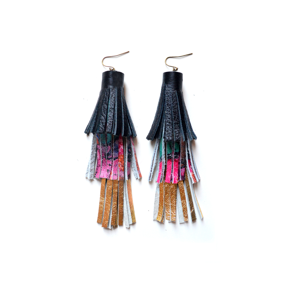 Gold Tassel Earrings, Black Pink and Emerald Pattern Earrings, Leather Earrings, Long Fringe Earrings, Leather Tassel Jewelry 2.jpg