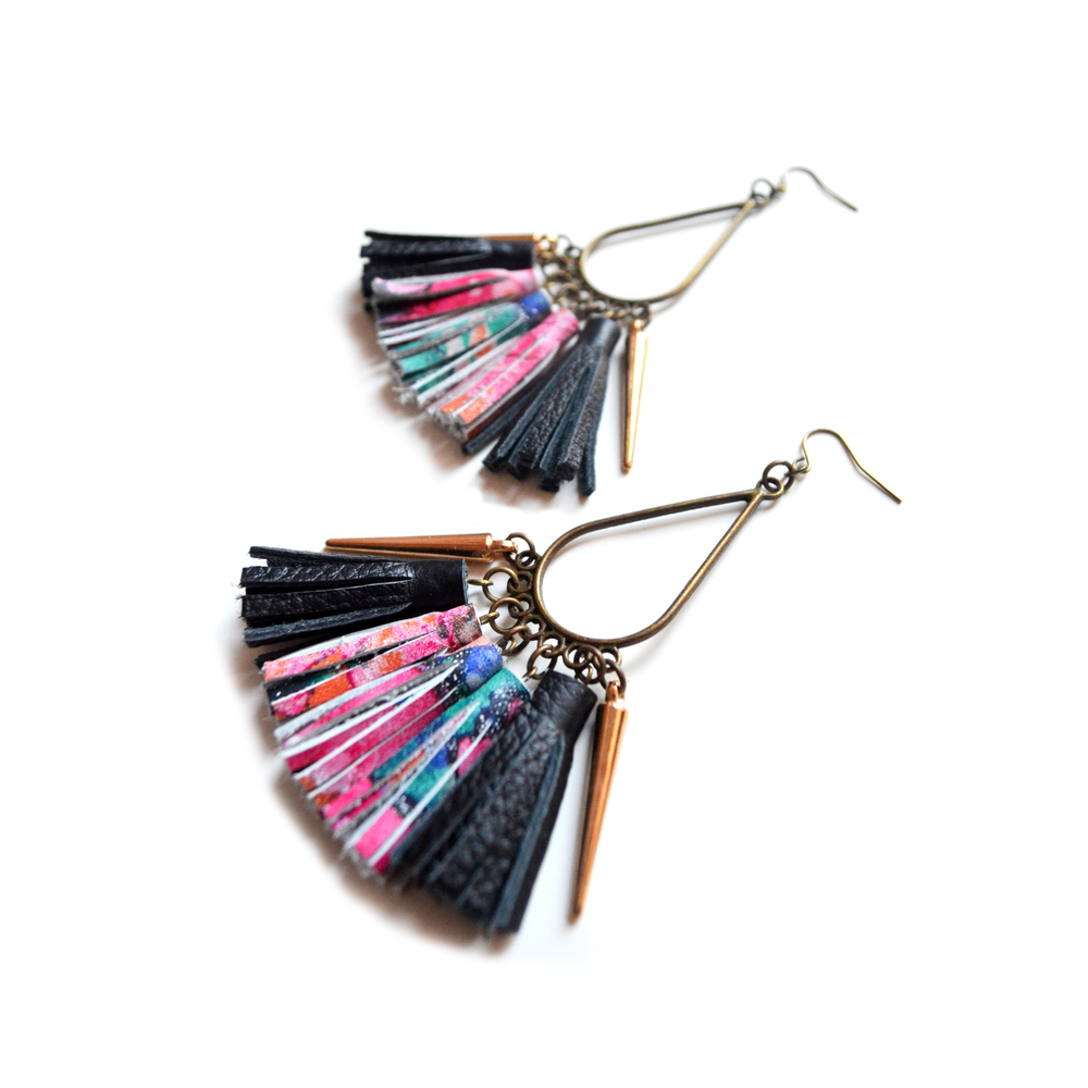 Brass Dangle Earrings, Leather Tassel Earrings, Gold Black and Pink Pattern Earrings, Spike Earrings, Chandelier Earrings, Fringe Leather Jewelry.jpg