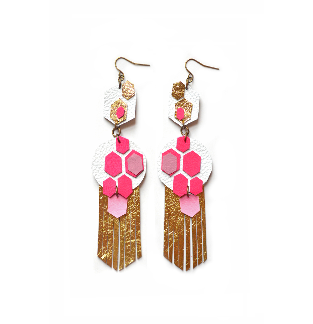 Leather Geometric Earrings, Hot Pink Hexagon Earrings, Metallic Gold Earrings, Fringe Dangle Earrings, Neon Chandelier Earrings 2.jpg