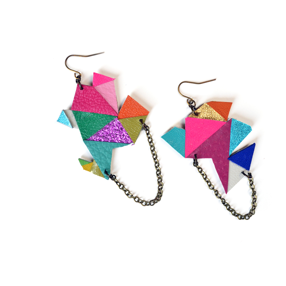 Geometric Earrings, Rainbow Earrings, Modern Earrings, Triangle Polygon Earrings, Asymmetrical Geometric Jewelry 5.jpg