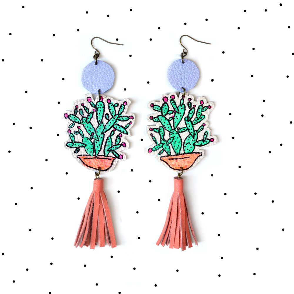 Cactus Earrings, Mint Earrings, Peach Tassel Earrings, Plant Earrings, Leaf Earrings, Long Statement Earrings, Illustration Earrings 6.jpg