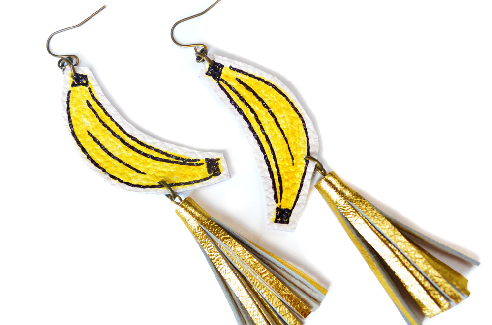 Banana Earrings, Gold Tassel Earrings, Fruit Earrings, Yellow and Gold Earrings, Pop Art Earrings, Statement Earrings 5.jpg