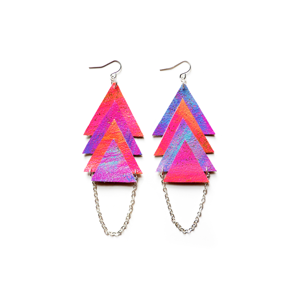 Galaxy Leather Earrings, Dangle Earrings, Pyramid Chevron Earrings, Triangle Geometric Jewelry 2.jpg