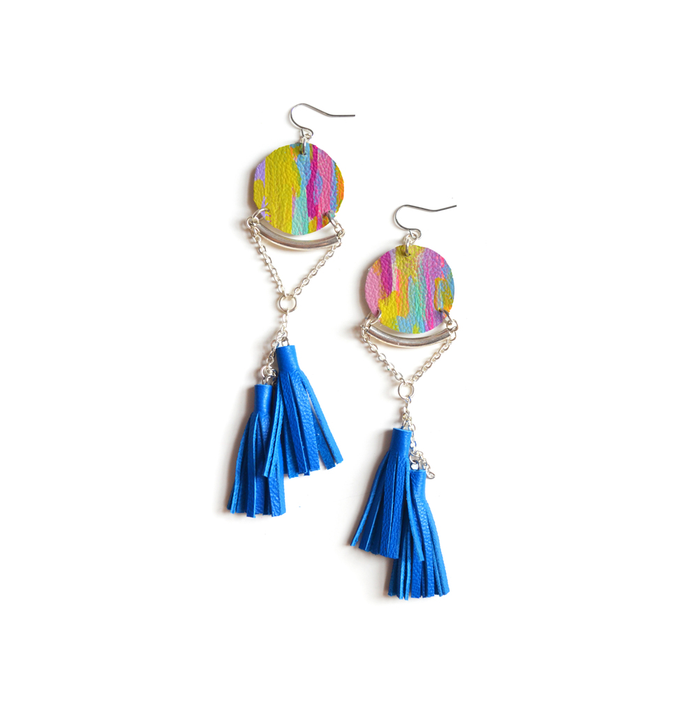 Blue Tassel Earrings, Circle Leather Earrings, Abstract Painted Earrings, Silver Geometric Earrings, Long Statement Earrings.jpg