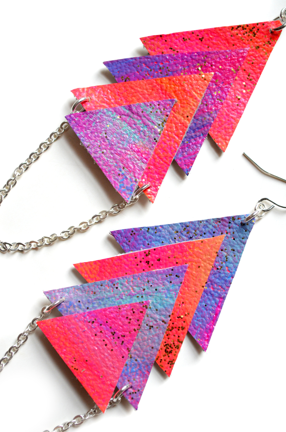 Galaxy Leather Earrings, Dangle Earrings, Pyramid Chevron Earrings, Triangle Geometric Jewelry 4.jpg