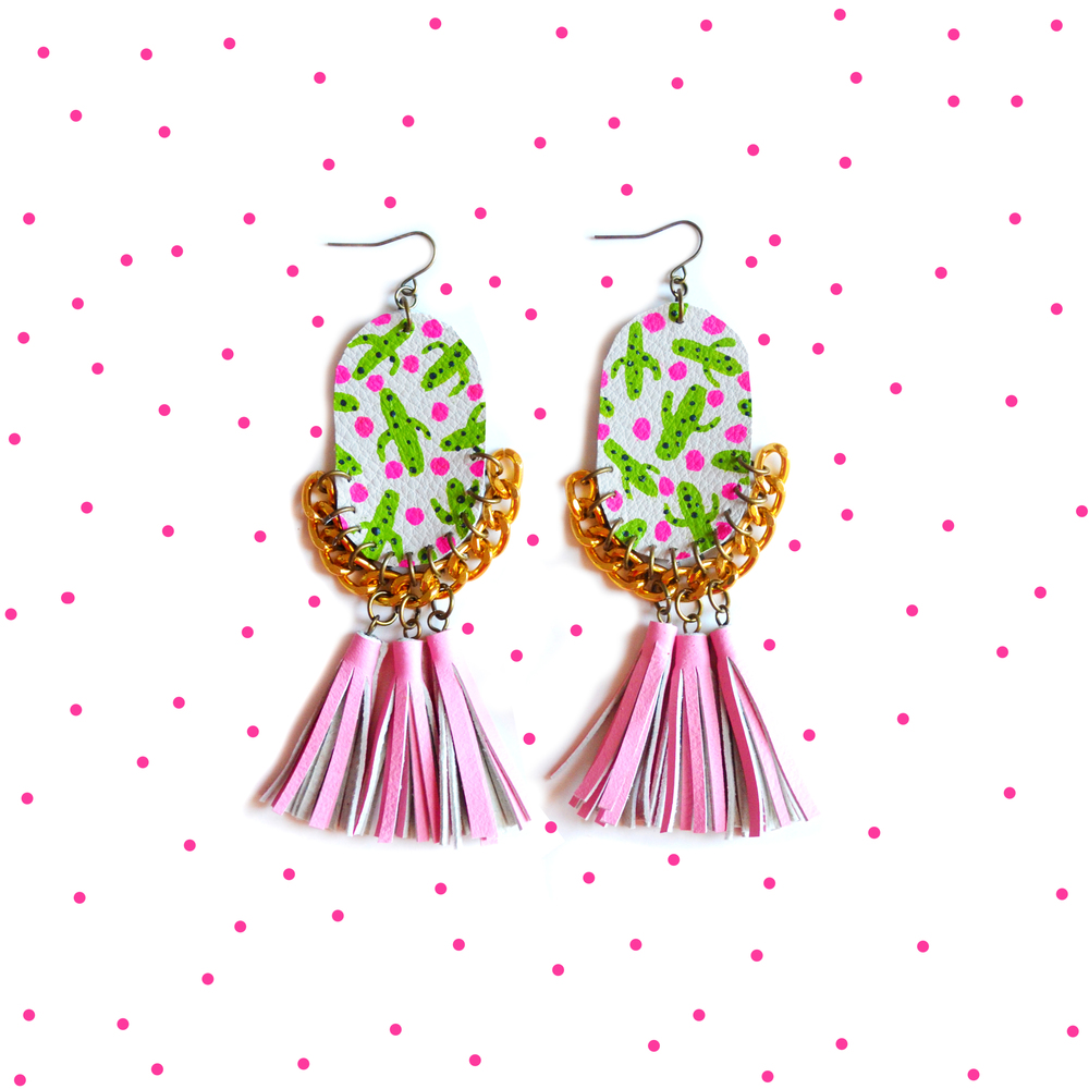 Pink Tassel Earrings, Painted Leather Earrings, Cactus Earrings, Gold Chain Earrings, Statement Earrings, Plant Earrings, Polka Dot Earrings 3.jpg