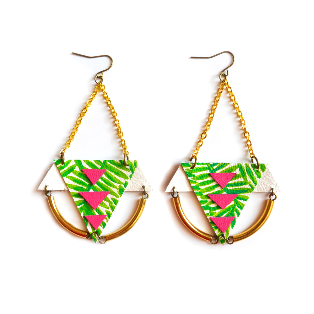 Brass Geometric Earrings, Palm Tree Earrings, Gold Dangle Earrings, Neon Pink and Green Triangle Earrings, Tribal Statement Earrings 6.jpg