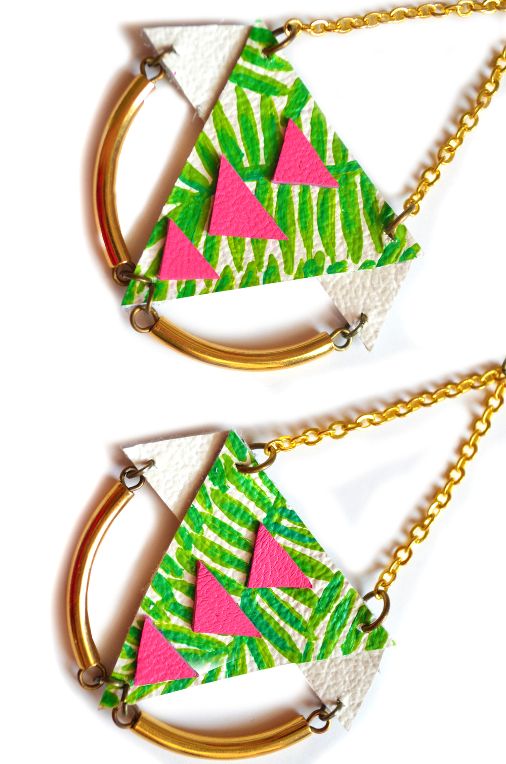 Brass Geometric Earrings, Palm Tree Earrings, Gold Dangle Earrings, Neon Pink and Green Triangle Earrings, Tribal Statement Earrings 4.jpg