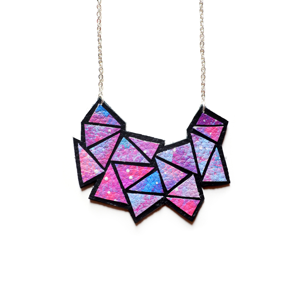 Galaxy Space Geometric Necklace, Pink, Purple and Blue Ombre Jewelry, Black Suede Leather Necklace, Cosmic Bib Necklace, Geometric Jewelry 2.jpg
