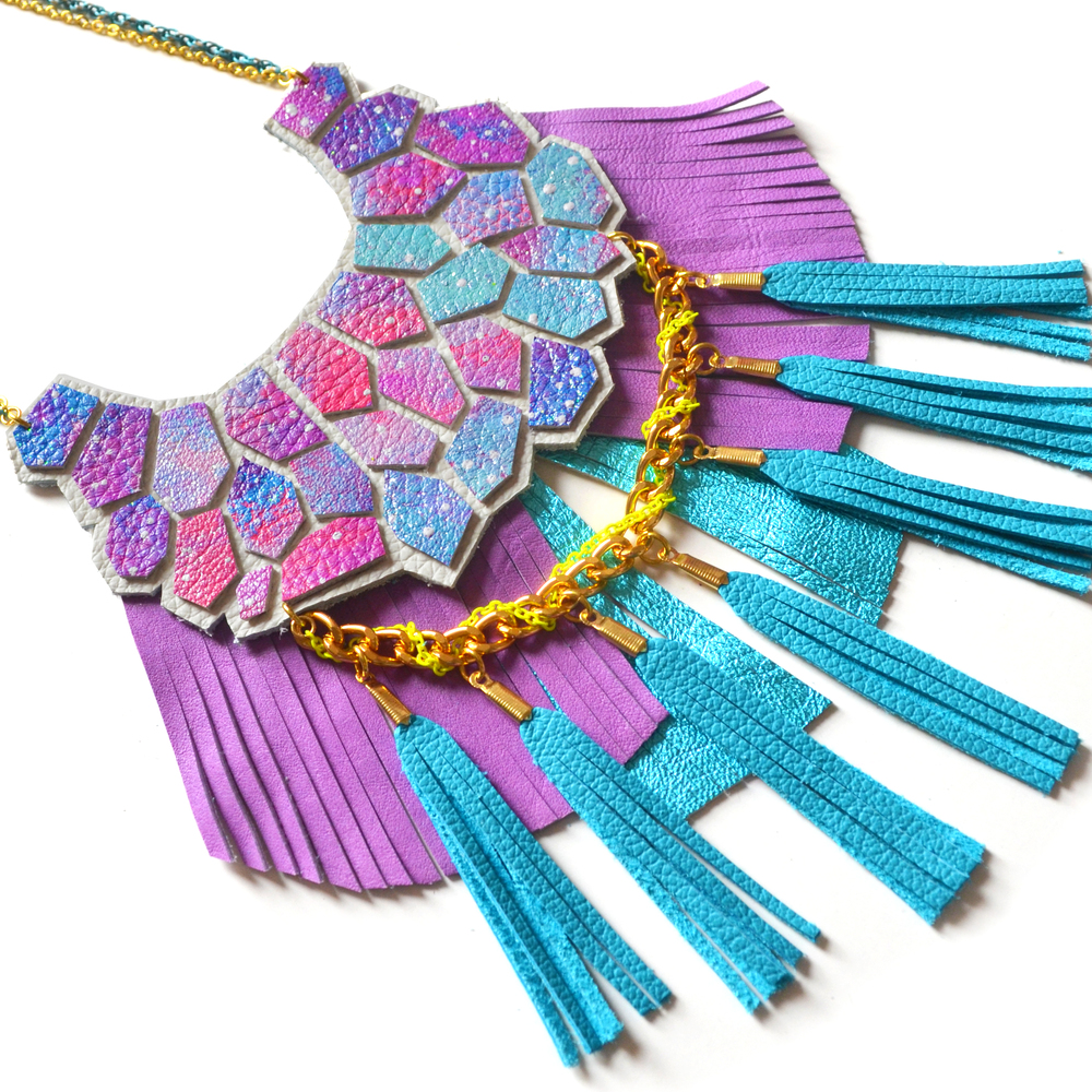 Turquoise Statement Necklace, Purple Fringe and Teal Tassel Necklace, Neon Woven Chain, Nebula Hexagon Fringe, Geometric Jewelry 4.jpg