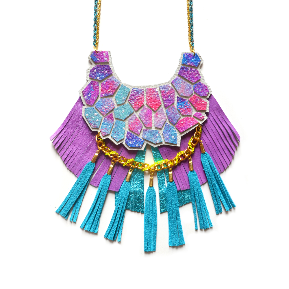 Turquoise Statement Necklace, Purple Fringe and Teal Tassel Necklace, Neon Woven Chain, Nebula Hexagon Fringe, Geometric Jewelry 2.jpg