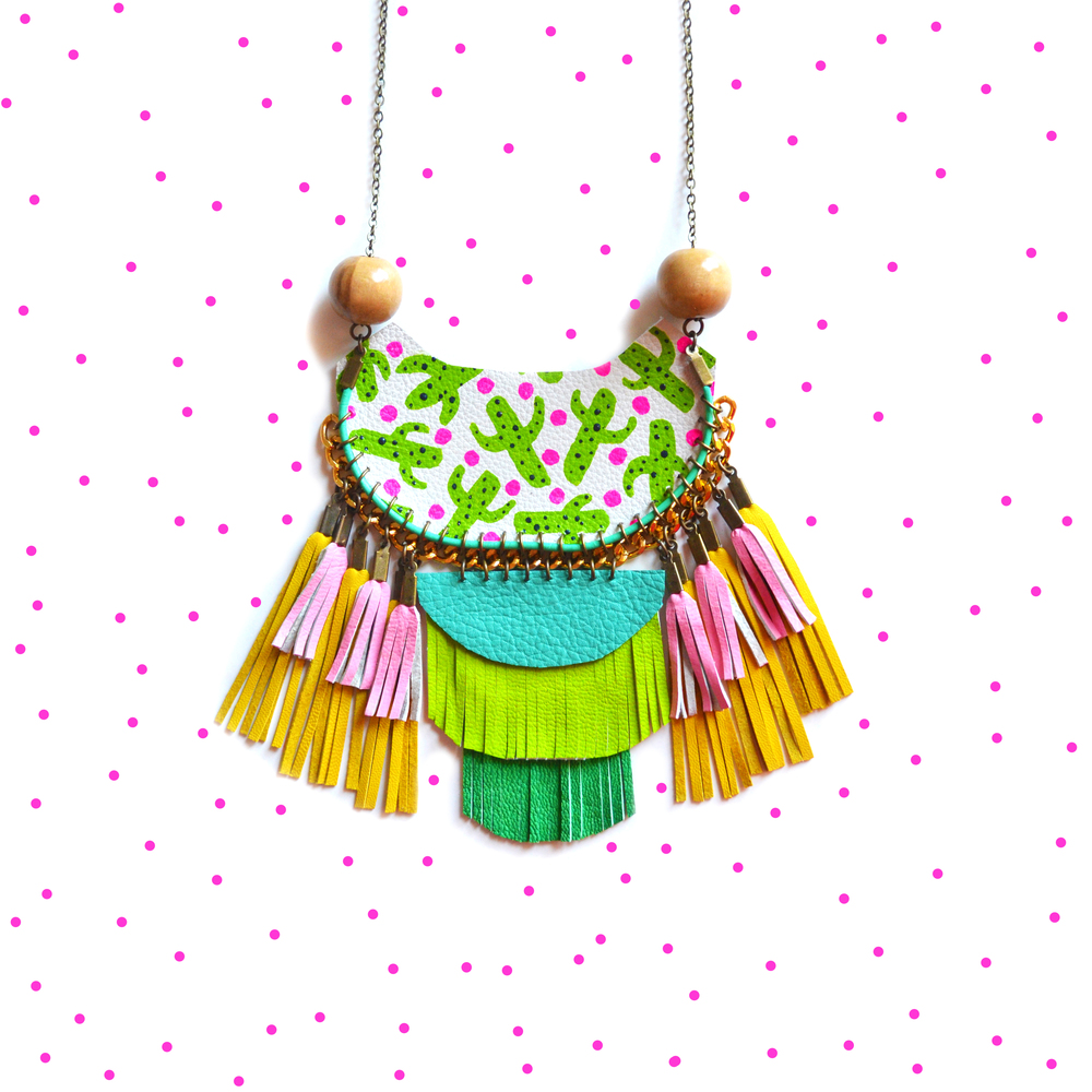 Cactus Statement Necklace, Woven Rope Jewelry, Wood Bead Geometric Necklace, Tassel Necklace in Green, Turquoise and Pink Leather Fringe, Cactus Plant Pattern 5.jpg