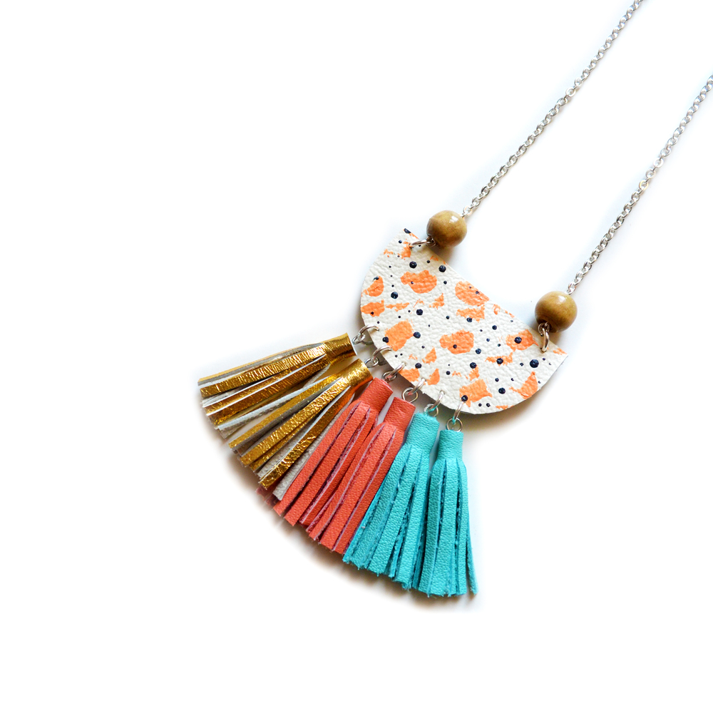 Leather Pendant Necklace, Pastel Coral Necklace, Small Bib Necklace, Tassel Necklace, Wood Pendant Necklace 2.jpg