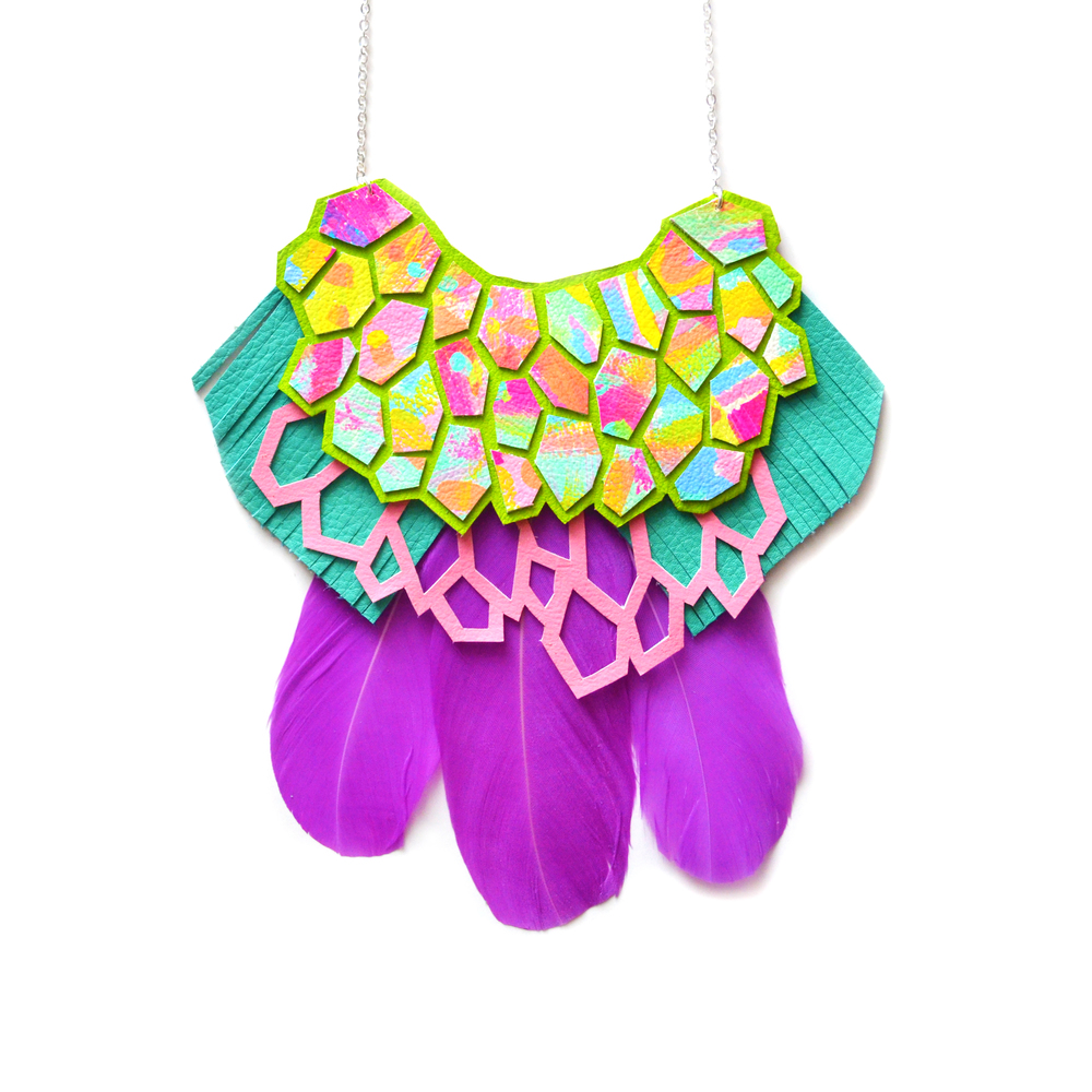 Leather Feather Statement Necklace, Rainbow Hexagon Necklace, Geometric Hexagons Bib Necklace, Purple, Pink and Turquoise Statement Jewelry 2.jpg