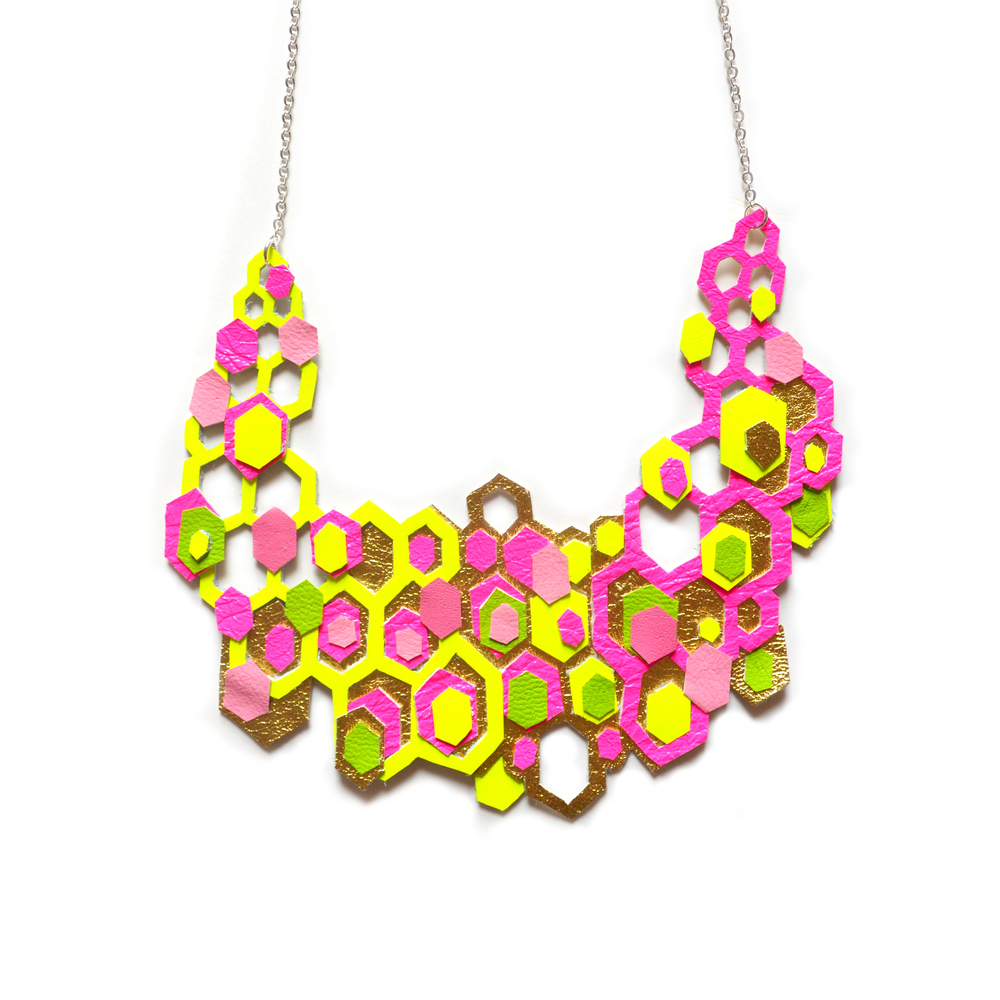 Neon Statement Necklace, Gold Geometric Necklace, Honey Comb Hexagon Necklace, Neon Pink Bib Neckace, Neon Yellow Necklace, Modern Necklace 2.jpg