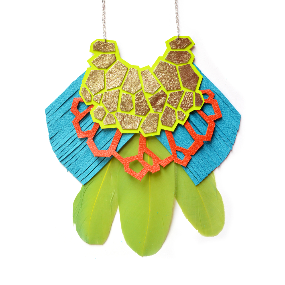 Neon Geometric Necklace, Neon Yellow Statement Necklace, Green Feather Bib Necklace, Turquoise Fringe Leather Necklace, Geometric Jewelry 2.jpg