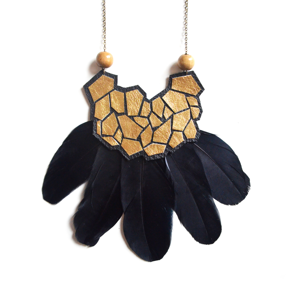 Gold Geometric Necklace, Gold Statement Necklace, Black Feather Necklace, Gold Necklace, Beaded Wood and Leather Necklace, Metallic Hexagon Bib Necklace, Geometric Jewelry.jpg