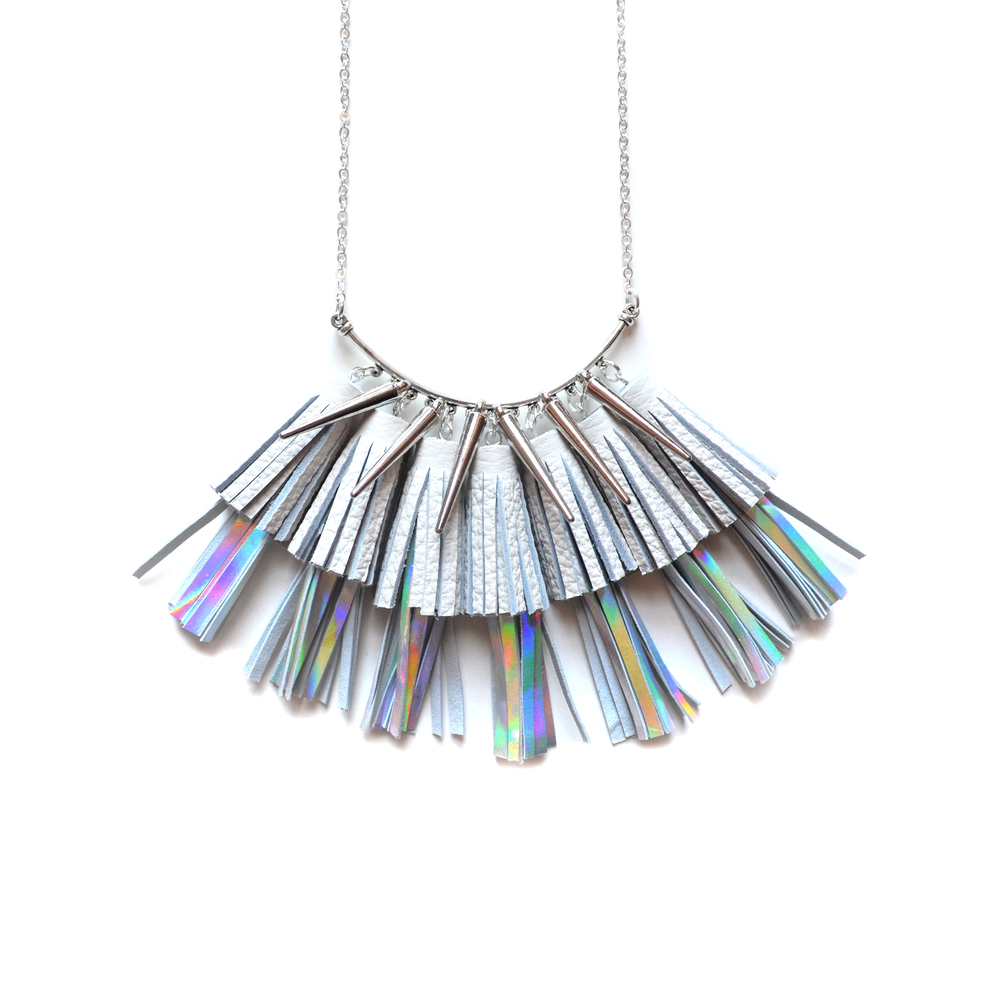 Holographic Leather Tassel Necklace, Geometric Necklace, Silver Spike Necklace, Hologram Statement Necklace 2.jpg