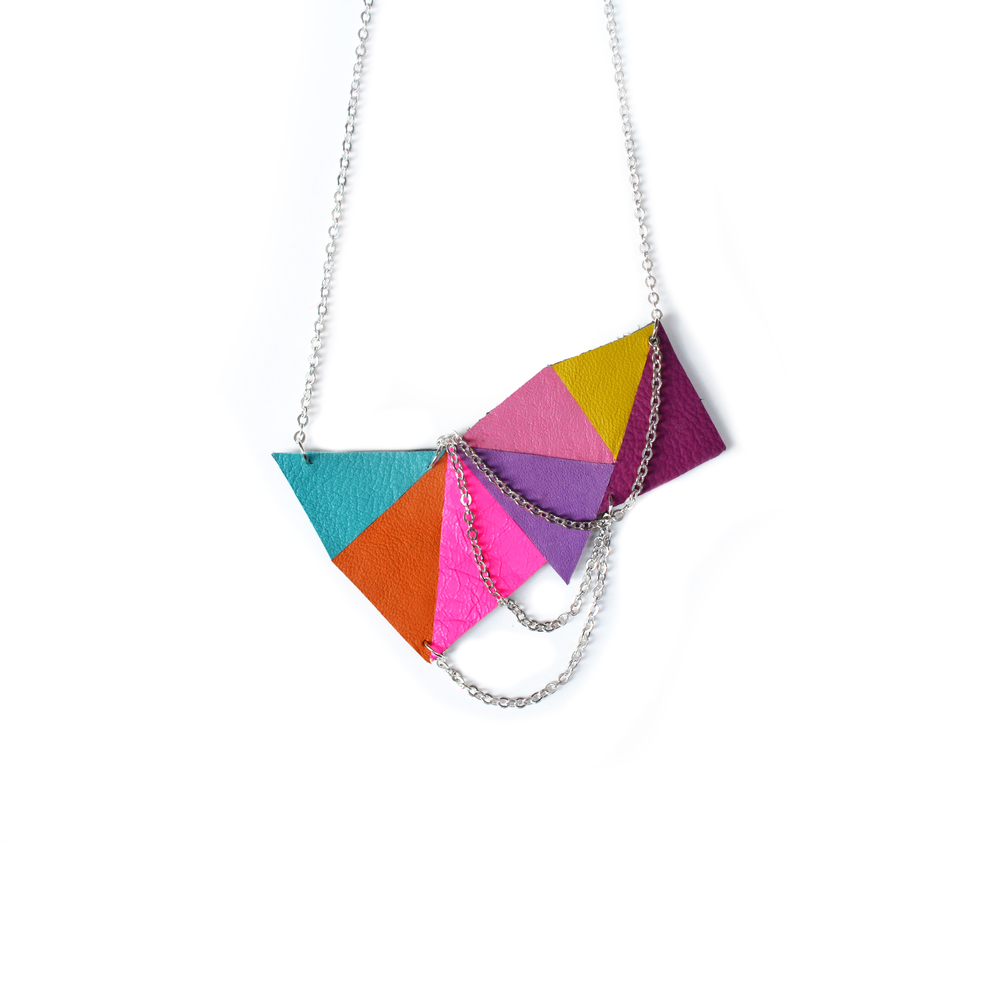 Geometric Necklace, Colorful Bib Necklace, Rainbow Necklace Triangle Necklace, Geometric Jewelry.jpg