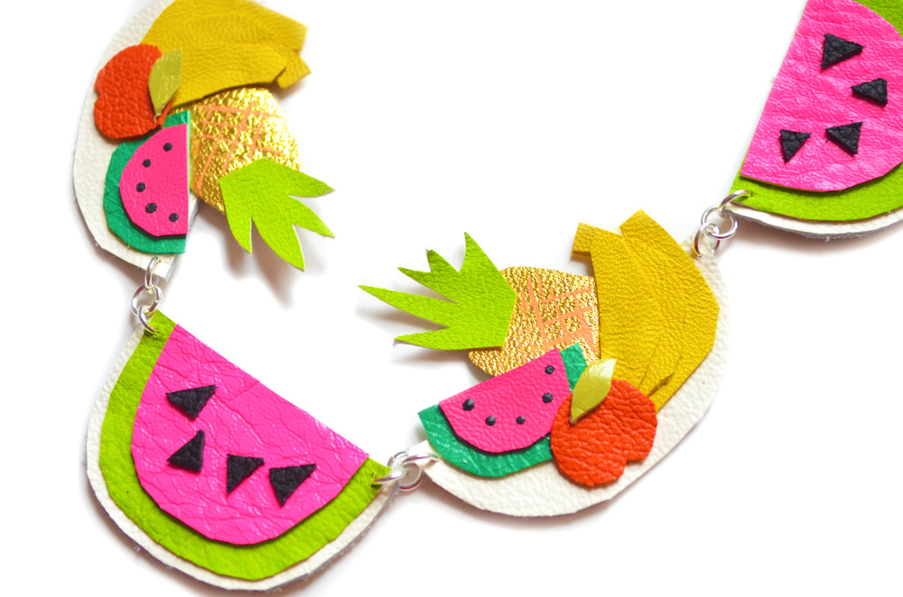 Fruit Statement Necklace, Watermelon Necklace, Pineapple Necklace, Neon Charm Necklace, Bannana Necklace, Colorful Bib Necklace.jpg