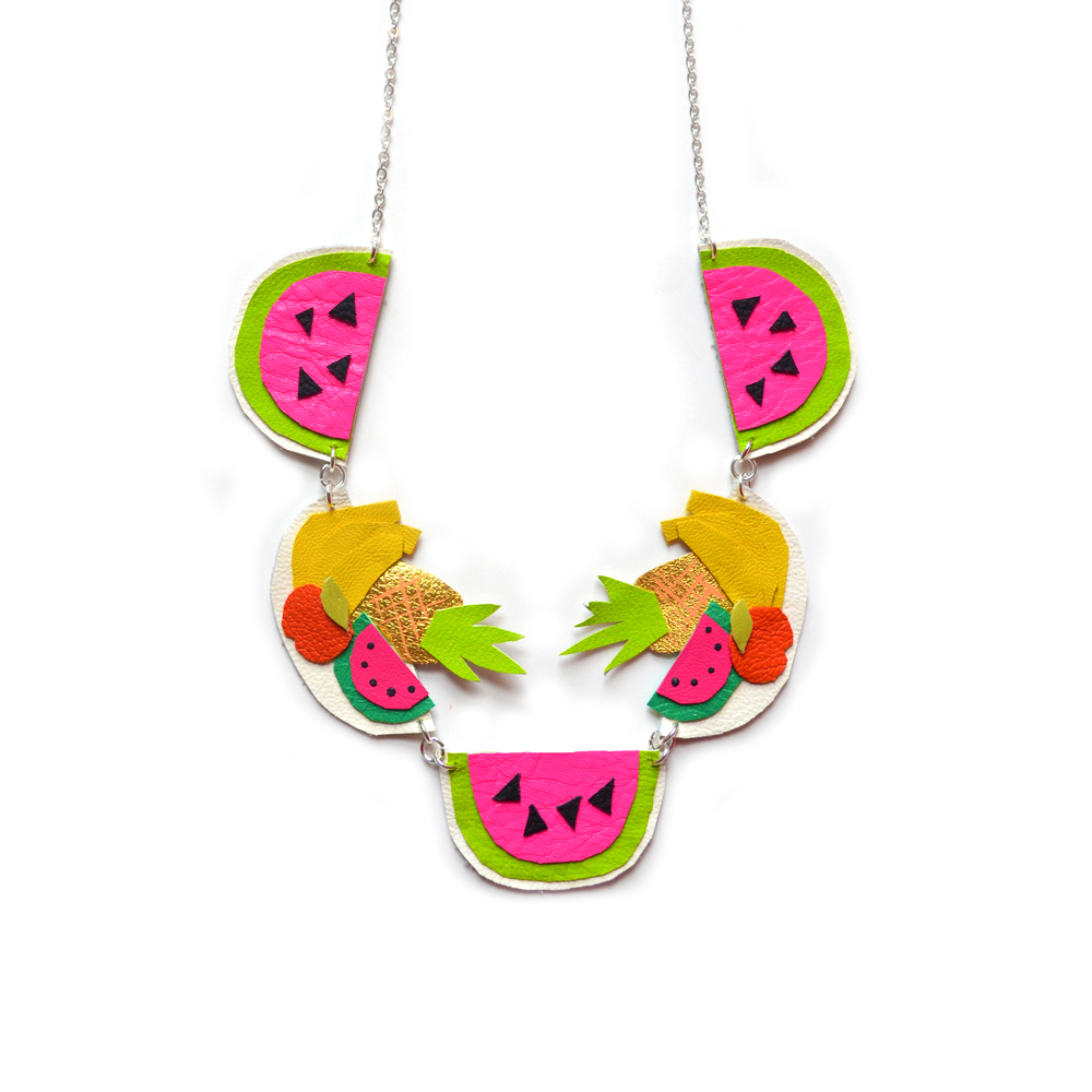 Fruit Statement Necklace, Watermelon Necklace, Pineapple Necklace, Neon Charm Necklace, Bannana Necklace, Colorful Bib Necklace 4.jpg