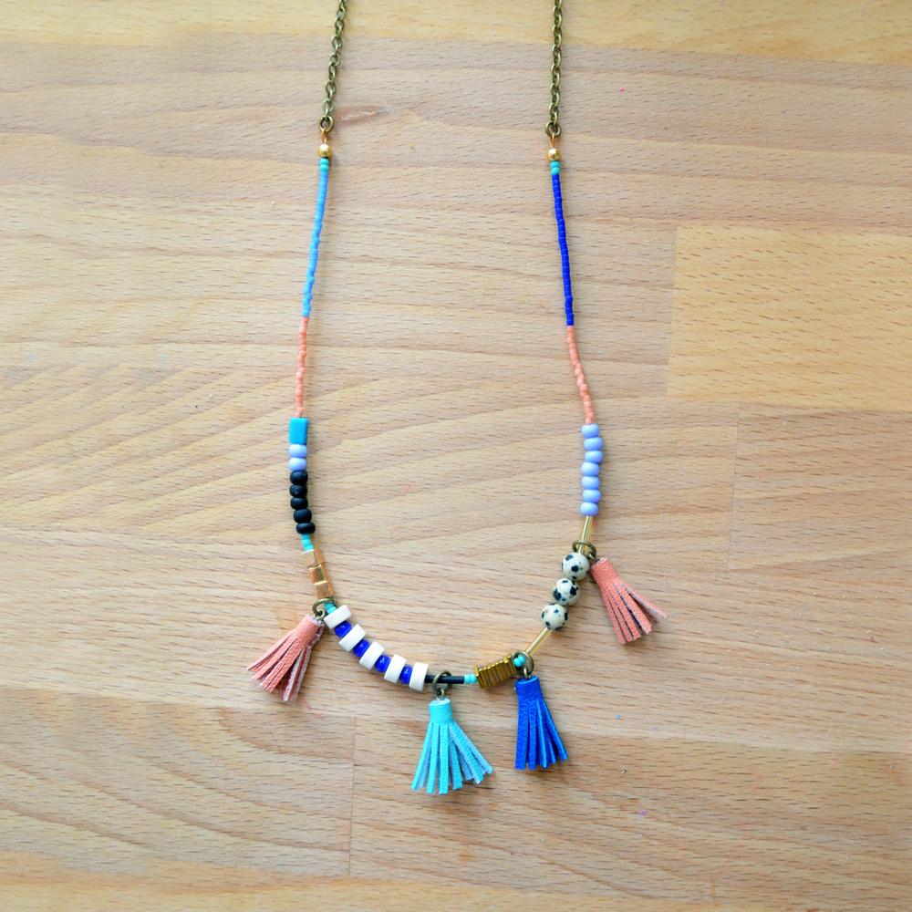 Long Beaded Necklace, Spotted Jasper, Cobalt Blue, Peach and Purple Bead Leather Tassel Jewelry, Gemstone Geometric Brass 7.jpg
