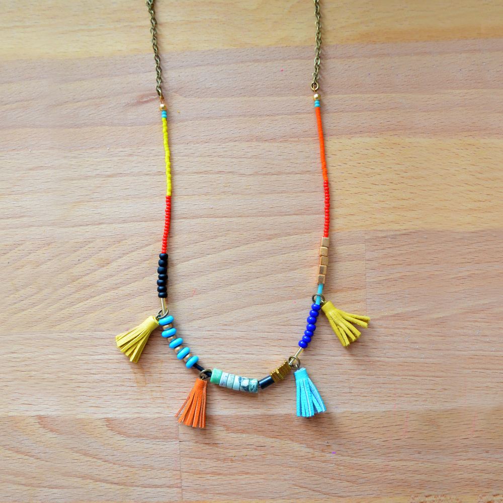 Long Beaded Necklace, Turquoise Red and Yellow Bead Leather Tassel Jewelry, Primary Colors, Geometric Brass 8.jpg