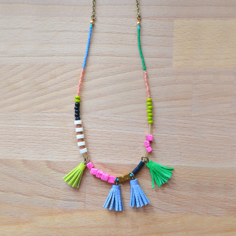 Long Beaded Necklace, Pink Marble, Turquoise, Peach and Green Bead Leather Tassel Jewelry, Gemstone Geometric Brass 9.jpg