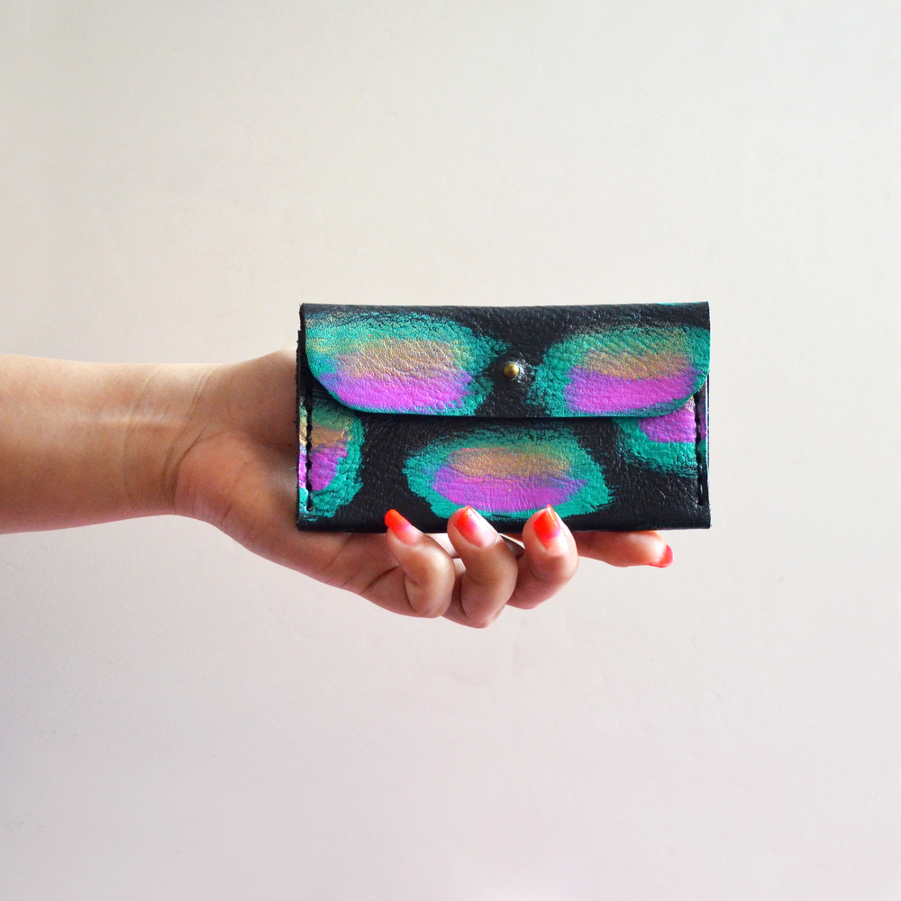 Leather Wallet, Coin Purse, Mint and Pink Metallic Gold Modern Wallet, Small Bag, Abstract Art Bag, Leather Wallet, Business Card Holder 6.jpg