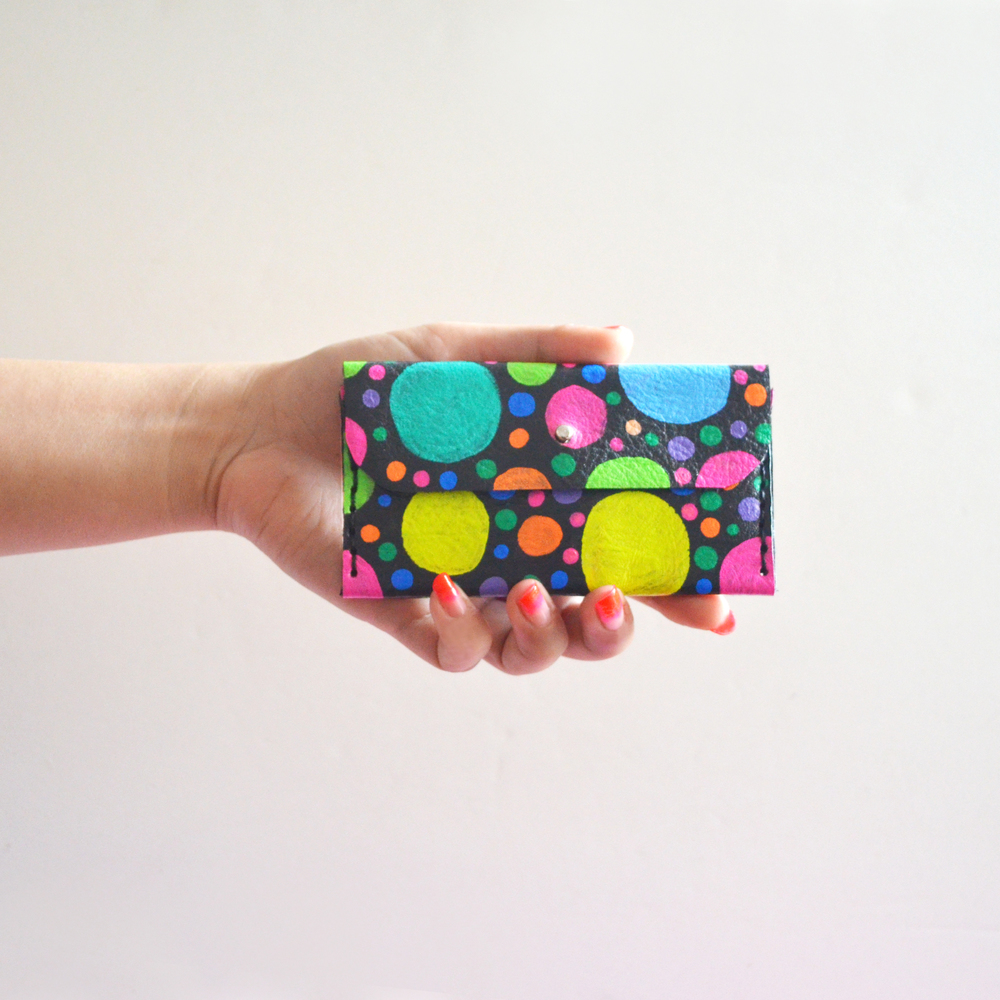 Colorful Leather Wallet, Circle Dot Pattern Coin Purse, Rainbow Modern Wallet, Small Bag, Abstract Art Bag, Leather Wallet, Business Card Holder 6.jpg