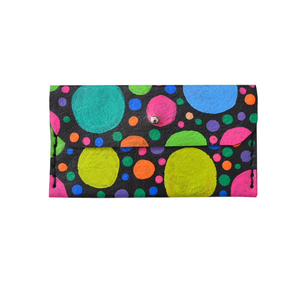 Colorful Leather Wallet, Circle Dot Pattern Coin Purse, Rainbow Modern Wallet, Small Bag, Abstract Art Bag, Leather Wallet, Business Card Holder.jpg