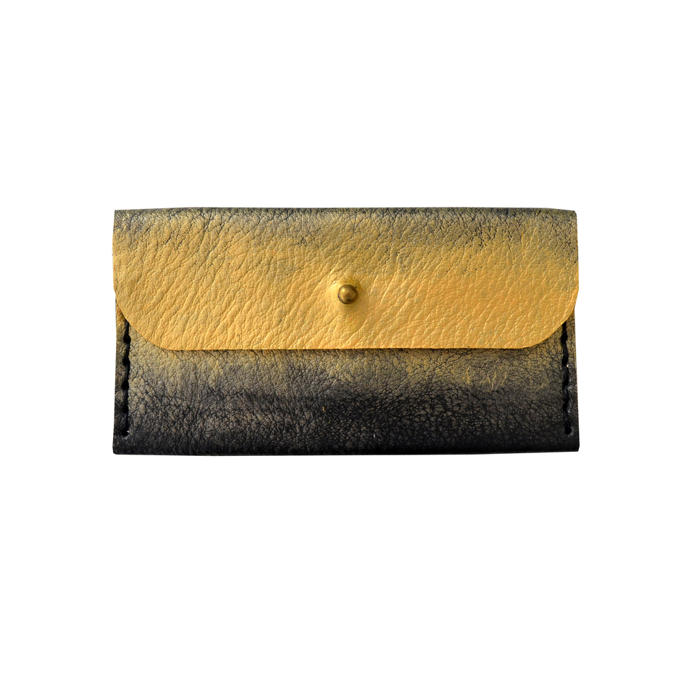Gold Ombre Leather Wallet, Painted Coin Purse, Metallic Modern Wallet, Small Bag, Abstract Art Bag, Leather Wallet, Business Card Holder.jpg