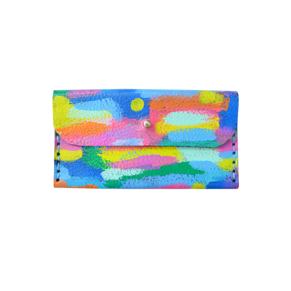 Colorful Leather Wallet, Pattern Coin Purse, Rainbow Modern Wallet, Small Bag, Abstract Art Bag, Leather Wallet, Business Card Holder.jpg