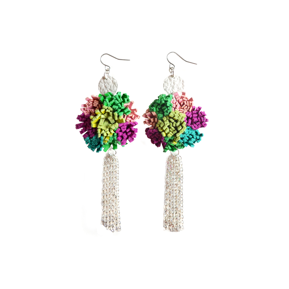 Colorful Leather Earrings, Silver Tassel Earrings, Fiber Art Jewelry, Sea Anemone Earrings, Furry Fringe Earrings in Teal, Green and Fuchsia 2.jpg